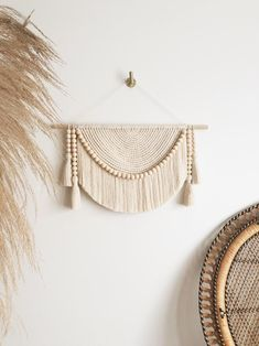 Large Macramé Wall Hanging with Maple Wood Beads and Tassels   Etsy Neutral Walls, Neutral Tones, Large Macrame Wall Hanging, Macrame Design, Green Copper, Geometric Wall, Wooden Beads, Home Decor Inspiration, Nursery Decor