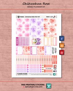 Free Printable Chihuahua Rose Planner Stickers from Sepiida Prints