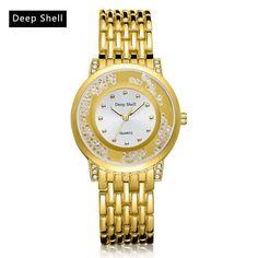 e37b3d0f289 Deepshell Brand Steel Strap Quartz Watches Women Luxury Crystal Girl Clock  Fashion Business Ladies Creative Wristwatch
