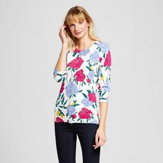 """$6.88 at Target  Model wears size 4/S and is 5'9.5""""<br>• Cotton/Nylon/Spandex for soft, reliable stretch<br>• Button front for easy on/off styling<br><br>Add dynamic warmth to your look with the Women's Floral Favorite Cardigan by Merona;. This pretty button front cardigan has a sleek fit to flatter your figure while adding comfort and drama."""