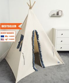 children teepee tent, kids play tent, tipi, teepee tent, indian wigwam BLUE FRILL by cozydots on Etsy Kids Tents, Teepee Kids, Teepee Tent, No Frills, Best Sellers, Children, Etsy, Home Decor, Young Children