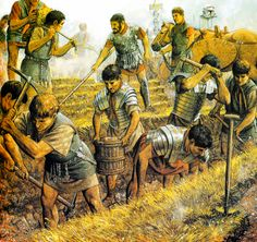Roman Legionaries digging fortifications during the Siege of Alesia, Gallic War