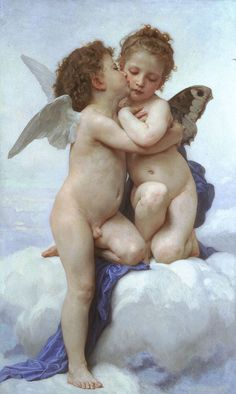Poster 20 x 30 cm: The first kiss by William Adolphe Bouguereau art print, new art poster William Adolphe Bouguereau, Murals Your Way, Thing 1, Oil Painting Reproductions, First Kiss, Renaissance Art, Painting For Kids, Children Painting, Western Art