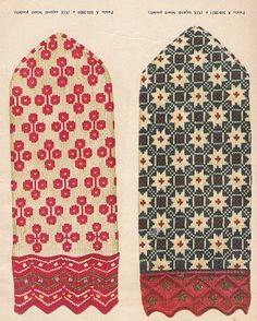 Some more incredible Estonian knitting - check out the detail in the cuff on the right one/ lots of charts