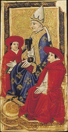 Le Pape, Tarot dit de Charles VI, fin du XVe siècle, Italie du Nord