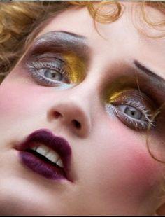 Make up for Rose Red The Cathouse by Baldovino Barani 1920s Makeup, Goth Makeup, Makeup Inspo, Makeup Art, Makeup Inspiration, Beauty Makeup, Eye Makeup, Hair Makeup, Clown Makeup