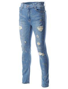 FLATSEVEN Mens Destroyed Regular Straight Leg Denim Ripped Jeans Pants (DN19193), Size XL FLATSEVEN http://www.amazon.co.uk/dp/B00NWM7ACE/ref=cm_sw_r_pi_dp_ZCFyub113KJQF