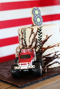 Awesome cake at a Monster Truck Birthday Party!  See more party ideas at CatchMyParty.com!