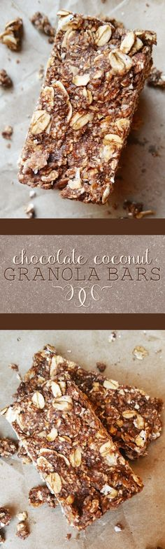 {Healthy, Low Calorie, Vegan, Gluten-Free Adaptable} These chocolate coconut granola bars couldn't be easier to make-- no oven, no baking, no problem!