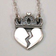 Heart Break Royalty Necklace Sterling Silver - Handmade. $115.00, via Etsy.