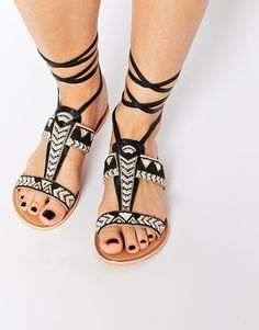 5853c240b New Look Fizz Wizz Leather Black Tribal Tie Up Flat Sandals at asos.com