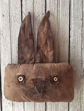 Primitive Rabbit Bunny Head Fabric Hanger
