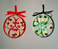 Quilled Christmas Ornaments, abstract pair of red and green, paper and copper