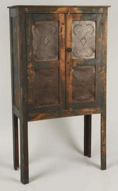 Prim Distressed Wood Pie Safe...with punched tin doors.                ****