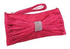 Fuchsia Satin Evening Bag Clutch Purse by The Leather Handbags