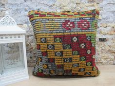 kilim pillow / throw pillow / anatolian kilim pillow / antique pillow / naturel kilim pillow / sofa pillow / 16x16 pillow cover / code 8021 Patio Pillows, Rustic Pillows, Bohemian Pillows, Kilim Pillows, Throw Pillows, Aztec Pillows, Christmas Bags, Handmade Pillows, Pillow Covers