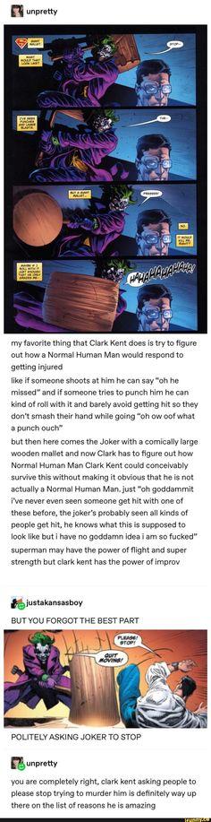 Sometimes Clark kinda gets on my nerves but this. this is good - Dc comics - Humor Nightwing, Batgirl, Batman Arkham City, Gotham City, Dc Memes, Funny Memes, Hilarious, Marvel Vs, Marvel Dc Comics