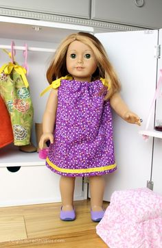 "Pattern and tutorial for a pillowcase dress with ribbon trim for an 18"" doll. Fits American Girl dolls. Link to pattern to make a matching dress for a little girl."