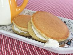 Maple Cream Cheese Cornmeal Pancake Stacks. These are make-ahead and freezeable!