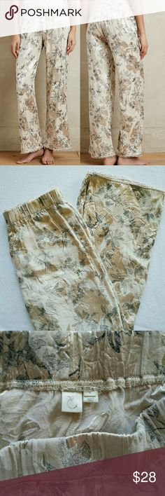 """Anthropologie Eloise Brocade Sleep Pants Pre loved but kept in good condition. Removed and got rid of waist string. It wasn't necessary. If you like one, I'm sure Michael's or Walmart has satin elastic ribbons.   Feminine to the utmost, Eloise's ribboned-and-lacy designs - from sweet chemises to vintage-inspired underpinnings - are just-for-you must-haves. An Anthropologie-exclusive label.  Rayon, polyesterPull-on styling Machine wash  Aproximate: Regular: 30.25"""" inseam Anthropologie Pants"""