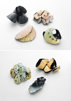 Julie Blyfield, brooches from the Scintilla series (2010), oxidised sterling silver, enamel paint, wax, dimensions variable. Photos – Grant Hancock.