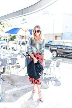 Floral Skirt + Stripe Tee