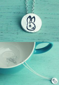 """This miniature bunny necklace is handcrafted out of eco-friendly reclaimed silver designed to make you happy every time you see it! Threaded onto an 18"""" fine silver chain this pendant measures approx"""