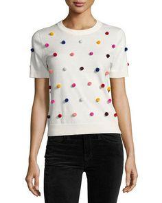 short-sleeve pompom sweater, white