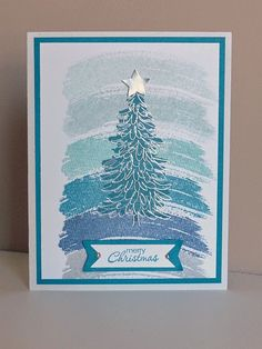 Stampin Along With Heidi: Christmas Card Challenge #28 - Optional Colour - Evergreen and Work of Art stamp sets (check out the stamp off technique using a paper towel for texture!).  Details in the post.