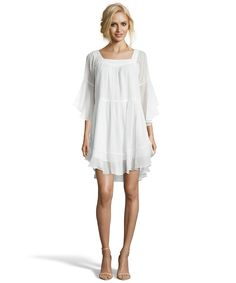 The Wyatt white dotted chiffon flared peasant dress at Bluefly.