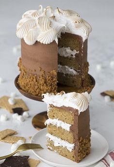 A delicious s'mores cake filled with a marshmallow fluff, covered in chocolate buttercream, and skirted with a graham cracker crunchy crumble. Birthday Desserts, Köstliche Desserts, Delicious Desserts, Summer Desserts, Birthday Cake Flavors, Birthday Cakes, Cakes To Make, Buttercream Cake Decorating, Easy Cake Decorating