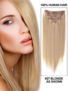 14in 7 Piece Silky Straight Clip In Human Hair Extension - blonde - SALE $32.99 FREE SHIPPING