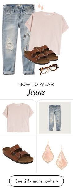 """boyfriend jeans & birks"" by juliabrueggemeyer on Polyvore featuring Abercrombie & Fitch, Brunello Cucinelli, Birkenstock and Kendra Scott"