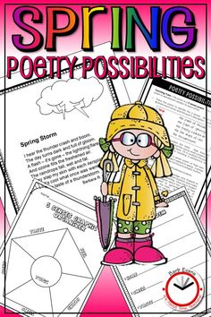 Each spring poem has a teaching point about poetry plus customized lessons from multiple subjects. Differentiated for all elementary grade levels. Poems are print ready for student anthologies. Forms Of Poetry, Poetry Unit, Writing Poetry, Poetry Activities, Comprehension Activities, Spring Activities, 5th Grade Classroom, 2nd Grade Teacher, Teaching Resources