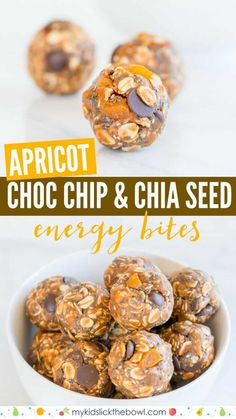 no-bake bites with Apricot,Choc Chips and Chia Seeds, these energy balls make a healthy healthy snack for kids