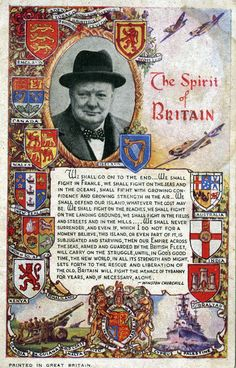 An poster sized print, approx (other products available) - The Spirit of Britain - Winston Churchill, England. Date: 1943 - Image supplied by Mary Evans Prints Online - poster sized print mm) made in Australia Churchill Quotes, Winston Churchill, Fine Art Prints, Framed Prints, Canvas Prints, England, British History, Great Britain, Poster Size Prints