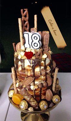 Chocolate and gold drip cake #dripcake #18th