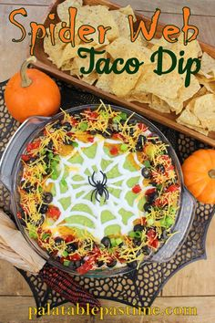 Spider Web Taco Dip Scary good taco dip for your Halloween party! Spider Web Taco Dip By S Spider Web Taco Dip Scary good taco dip for your Halloween party! Spider Web Taco Dip By Sue Lau Halloween Taco Dip, Soirée Halloween, Halloween Dinner, Halloween Goodies, Halloween Food For Party, Halloween Desserts, Holidays Halloween, Halloween Recipe, Halloween Potluck Ideas