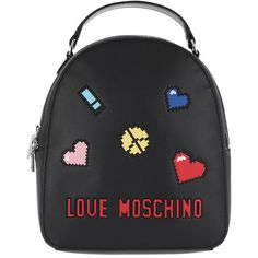 Love Moschino Shoulder Bag - Backpack Patches Love Peace Nero - in... (13.960 RUB) ❤ liked on Polyvore featuring bags, handbags, shoulder bags, black, love moschino backpack, purse backpack, backpack shoulder bag, handbag backpack and shoulder bag backpack