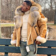 Image may contain: 1 person, outdoor Winter Leather Jackets, Men's Leather Jacket, Winter Jackets, Winter Coats, Big Men Fashion, Fashion Sale, Fashion Boots, Womens Fashion, Mens Fur