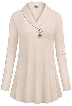 Buy online Ouncuty Women Fall Long Sleeve Tops Shawl Neck Button Down Dressy Blouses Shirts.Women Lightweight Pullover Blouses,Lady Leisure Retro Elongated Workout Loose Maternity Shirts Easy Dry Jersey Sweater Shirts for Outwear Eveing Out Beige Med Dress Neck Designs, Blouse Designs, Long Tunic Tops, Long Sleeve Tops, Sewing Blouses, Buy Clothes Online, Mode Hijab, Blouse Styles, Shirt Blouses