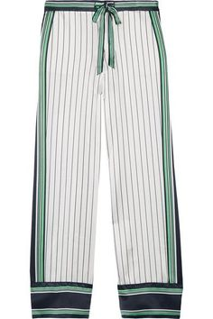 Kate Moss for Equipment - Lake Striped Silk-satin Pajama Pants - White - x small