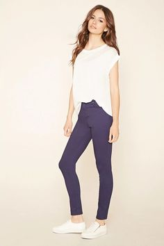 Forever 21 Contemporary - A pair of woven skinny jeans complete with a zip fly and a five-pocket construction. #f21contemporary