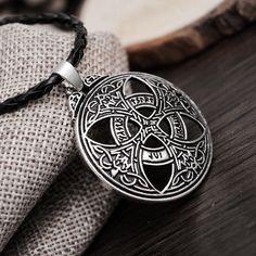1 개 Vinkings 펜던트 목걸이 큰 Celttic 매듭 사랑 펜던트 바이킹 Norse 룬 펜던트 목걸이 Wiccan 이교도 Asatru 보석