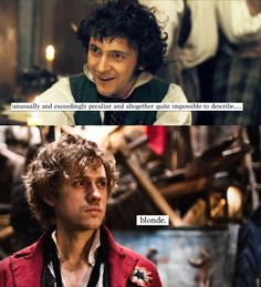 Description of R and aaronjolras - blonde the hair of perfect a man!  black the hair of drunk grantaire!