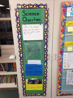 Since I teach fifth grade science, I created this board so students would have things to do if they complete an activity early. They can research the science question of the week on the computer, or they can do a worksheet, or they can do a science writing prompt
