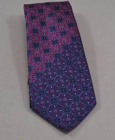 Mens Necktie Tie Silk Versace Navy Blue Pink Floral Medusa Italy Italian Classic   eBay