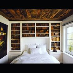 This cosy AF bedroom. | 26 Bookshelves That Will Give You Serious Goals