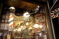 10 Old School Barbershops That Helped Pave the Way Back to Vintage Style Grooming: Master craftsmanship, antique furnishings, whiskey and good conversation. Vintage Groom, Vintage Display, New Shop, Barber Shop, Vintage Fashion, Vintage Style, Old School, Neon Signs, Antiques