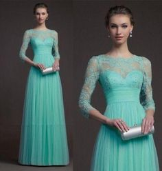 Wholesale Bridesmaid Dress - Buy New Style 3/4 Long Sleeve Bridesmaid Dress Crew A Line Floor Length Light Sky Blue Organza Backless Lace-up Applique Evening Dress W1472426, $93.3 | DHgate.com